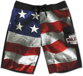 Metal Mulisha Men's Old Glory American Flag-Print Boardshorts