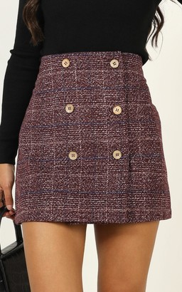 Showpo Thoughts Of You skirt in wine check - 18 (XXXL) Mini Skirts