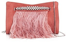 Jimmy Choo Venus Suede & Ostrich Feather Clutch