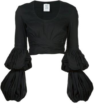 Rosie Assoulin Puff Sleeve Wrap Blouse