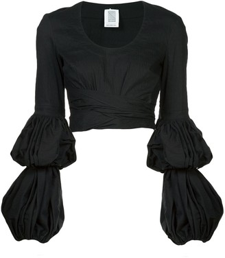 Rosie Assoulin puff sleeve wrap blouse