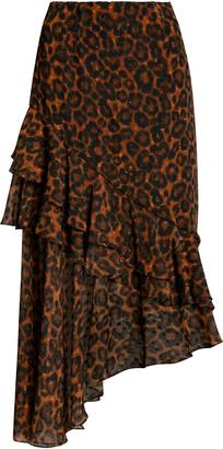 Erdem Antoinette Leopard-Print Fil Coupe Chiffon Midi Skirt