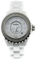 Chanel J12 Two Row Stainless Steel Diamond Bezel 38mm White Ceramic Watch
