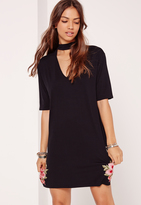 Missguided Embroided Choker Neck T-Shirt Dress Black
