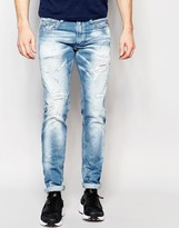 Replay Jeans Anbass Slim Fit Bleach Wash Extreme Distress And Repair