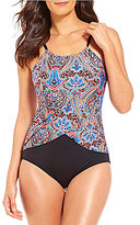 Jantzen Vibrant Paisley Drape High Neck One-Piece