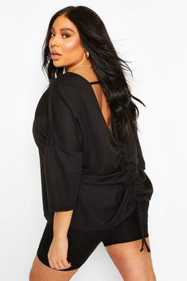 boohoo Plus Ruched Back Oversized Sweat Top