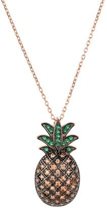 Latelita Pineapple Large Colourful Pendant Gemstone Necklace Rosegold