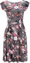 Grey Floral Blossom Fit & Flare Dress