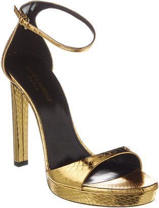 Saint Laurent Hall 105 Metallic Snake-Embossed Leather Sandal