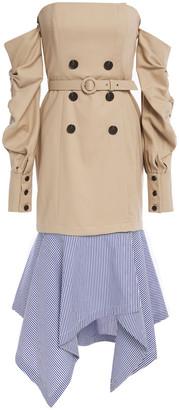 Jonathan Simkhai Strapless Poplin-paneled Cotton Dress