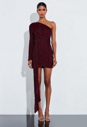 Missguided Burgundy Sequin One Shoulder Embellished Mini Dress