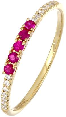 Bony Levy 18K Yellow Gold Ruby & Diamond Stackable Ring