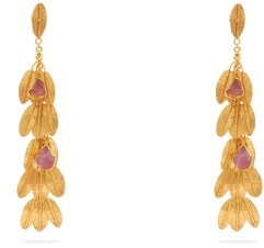 Pippa Small Turquoise Mountain - Burmi Tourmaline & 18kt Gold-vermeil Drop Earrings - Womens - Gold