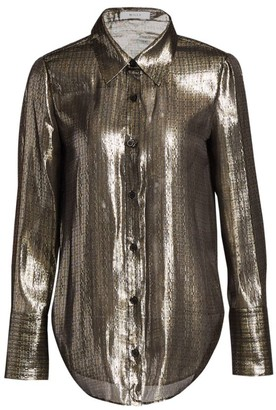 Milly Metallic Silk Wide-Sleeve Blouse