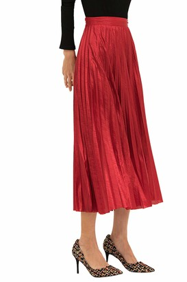Zilcremo Women Girls Pleated Skirts Elasticated Waist A-Line Swing Shininy Long Skirt Christmas Red M