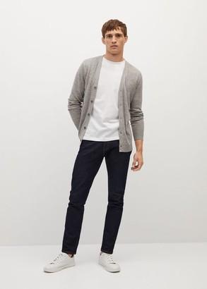MANGO MAN - Flecked linen cardigan grey - S - Men