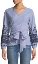 Brandon Thomas Embroidered Pinstriped Wrap Blouse