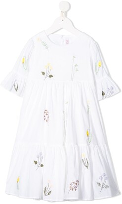 Il Gufo Embroidered Ruffled Dress