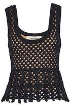L'Agence Tasseled Crocheted Cotton And Silk-Blend Top