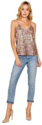 Lavender Brown Stretch Sequin Cami with Adjustable Strap (Candy Multi) Women's Clothing