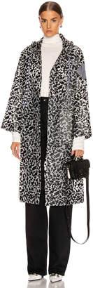 Proenza Schouler White Label Printed Long Raincoat in Milky White & Black   FWRD