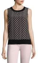 St. John Polka Dot Silk Shell Top