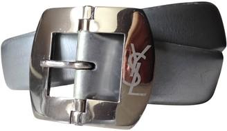Saint Laurent Silver Leather Belts