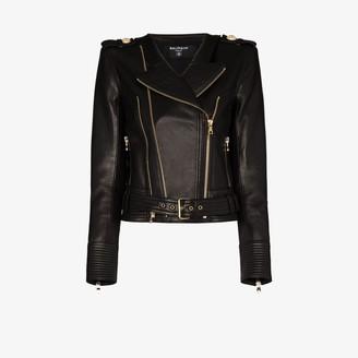 Balmain Buckle Belt Leather Jacket