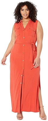 MICHAEL Michael Kors Plus Size Sleeveless Maxi Shirtdress (True Navy) Women's Dress