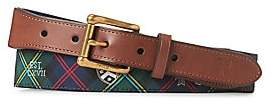 Polo Ralph Lauren Men's Web Motif Tab Front Leather-Blend Belt
