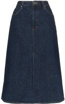 Gold Sign A-line denim midi skirt