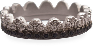 Armenta New World Petite Crown Ring with Diamonds & Black Sapphires, Size 6-7