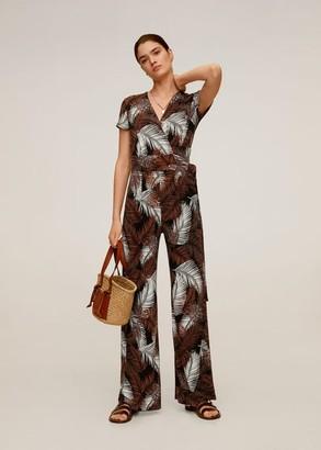 MANGO Tropical print jumpsuit chocolate - S - Women
