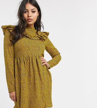 Glamorous Petite long sleeve skater dress with ruffle in dalmatian spot print