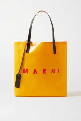 Marni Leather-trimmed Printed Coated-pvc Tote - Mustard