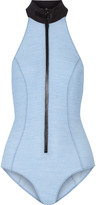 Lisa Marie Fernandez The Lisa Marie Maillot stretch-denim halterneck swimsuit
