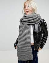 Glamorous Extra Long Knitted Scarf In Grey