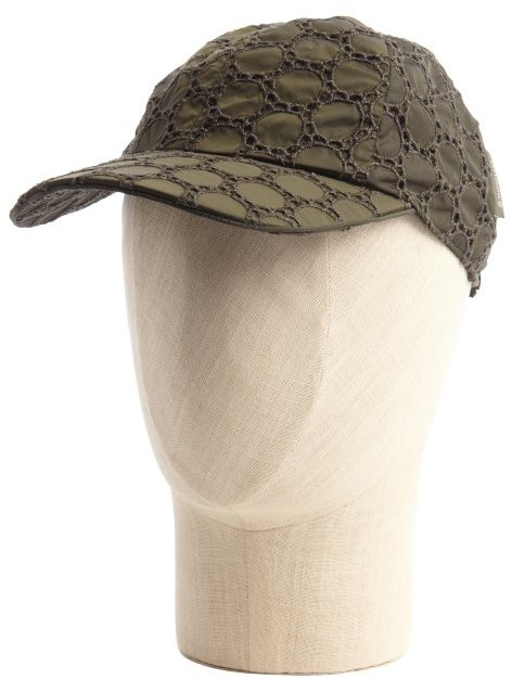 Moncler military green stitched detail cap