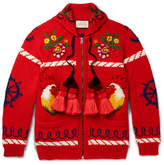 Gucci Embroidered Wool Zip-Up Cardigan