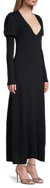 Thumbnail for your product : Rebecca Taylor Puff-Sleeve V-Neck Maxi Dress