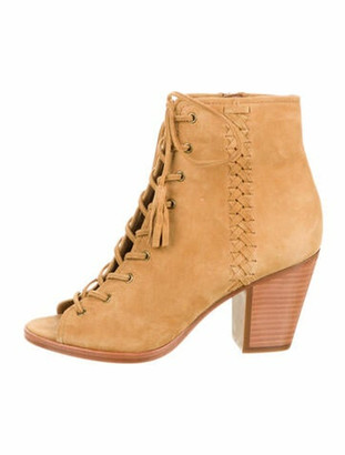 Frye Suede Braided Accents Lace-Up Boots