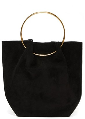 The Row Flat Micro Ring-handle Suede Bag - Black