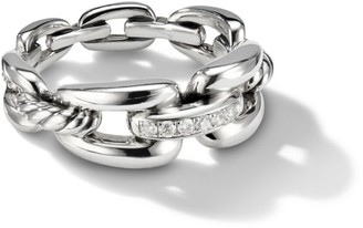 David Yurman Wellesley Link Chain Ring with Diamonds, 8mm