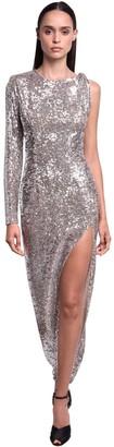 Nervi Sequined Stretch Long Dress W/ Side Slit