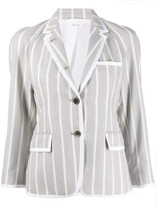 Thom Browne Vertical-Stripe Cropped Sleeve Blazer