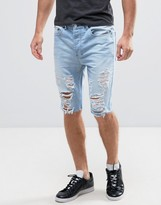 Religion Denim Short with Abrasions