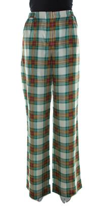 Alberta Ferretti Multicolor Plaid Silk High Waist Trousers M