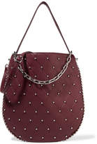Alexander Wang Roxy Studded Quilted Textured-leather Shoulder Bag - Burgundy
