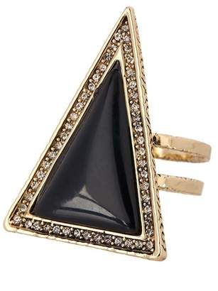 House Of Harlow Pave Crystal Black Lapis Triangle Theorem Ring - Size 7